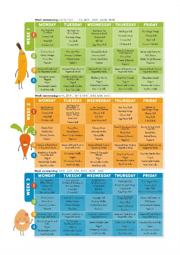 Pick and mix menu autumn term 2 2017