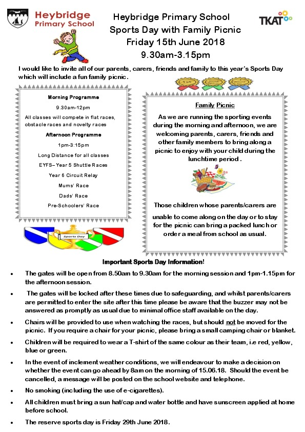 Sports day flyer to parents 150618