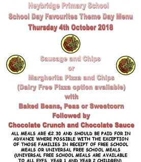 School Day Favourites Theme Day-4th October