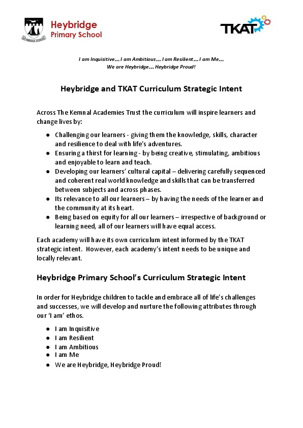 Tkat curriculum strategic intent p1