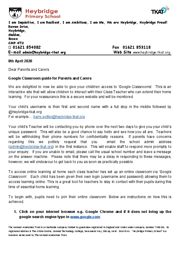 Letter to parents re Google classroom