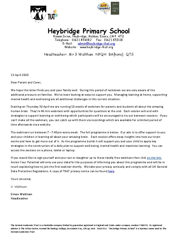 Heybridge TKAT AYP letter for parents