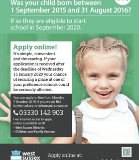 EYFS school applications open at WSCC