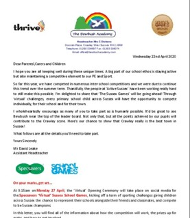 22APR20 - Virtual Sussex School Games
