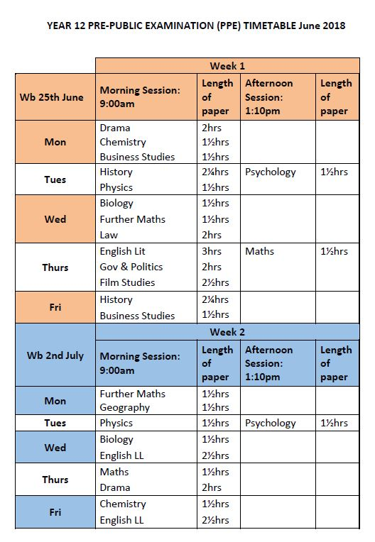 Timetable y12 ppes june 2018