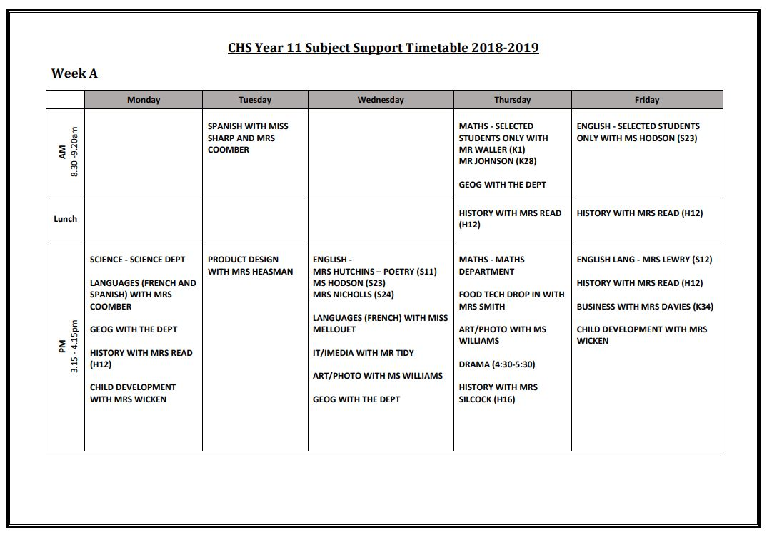 Chs week a yr11 subject support timtable 201819
