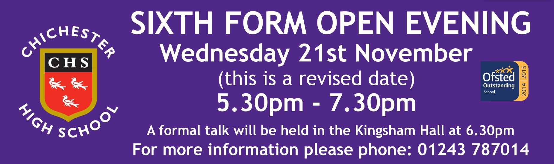 Sixth Form Open Evening (new date)