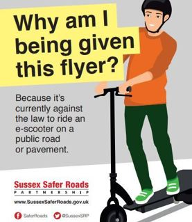 e-scooter - a message from Sussex Police