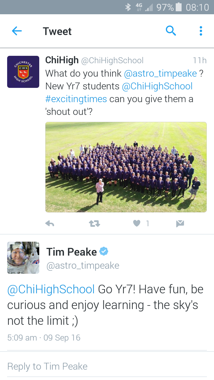 Message from tim peake to yr7
