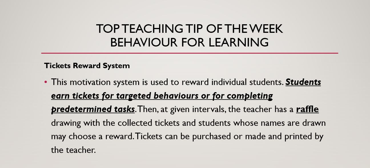 Top teaching tip behaviour for learning