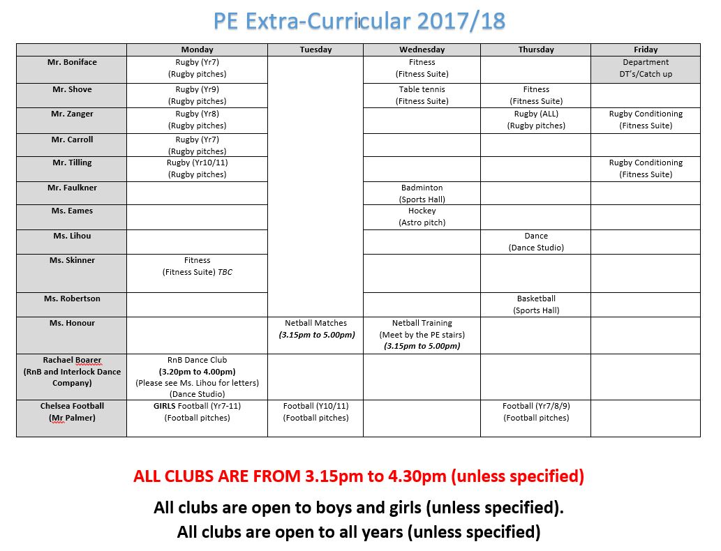 Pe extra curricular clubs sept 201718 v3