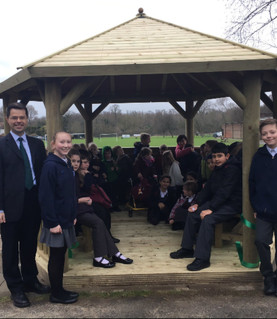 Local MP cuts ribbon to open our new outdoor classroom