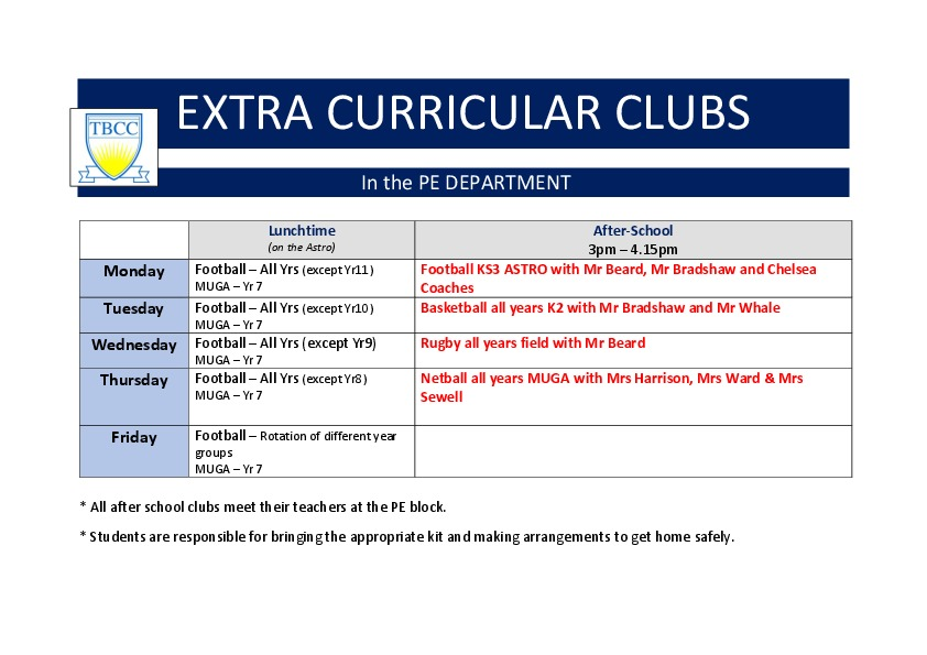 Pe extra curricular club list 2018