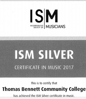 Thomas Bennett achieves the ISM Silver Certificate in Music